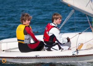 Teenagers sailing 420 dinghies
